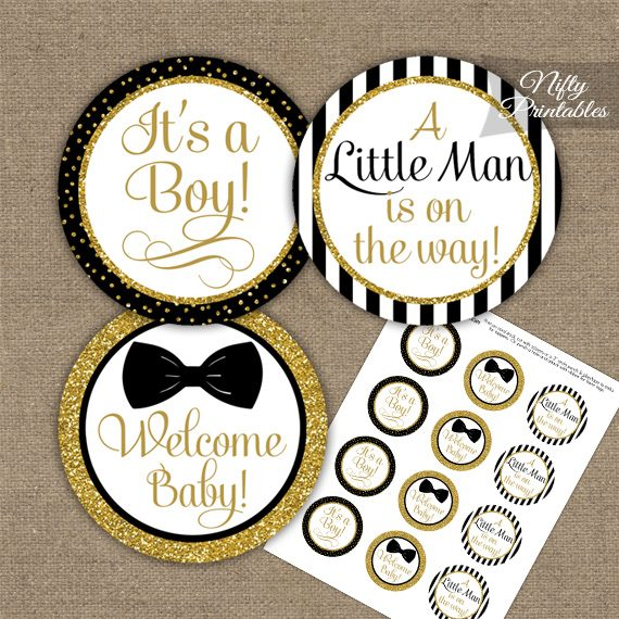 Baby Shower Toppers - Bow Tie Black Gold
