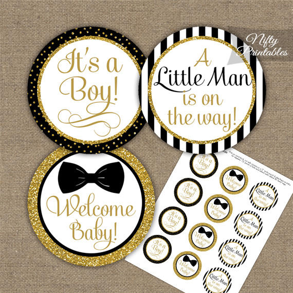 Baby Shower Toppers - Bow Tie Black Gold - Nifty Printables