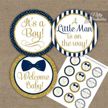 Baby Shower Toppers - Bow Tie Navy Gold