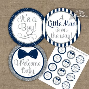 Baby Shower Toppers - Bow Tie Navy Silver