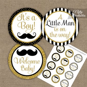 Baby Shower Toppers - Mustache Black Gold