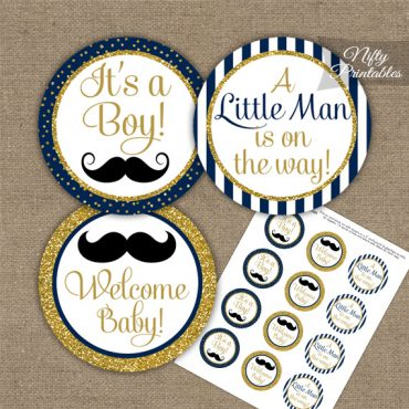 Baby Shower Toppers - Mustache Navy Gold