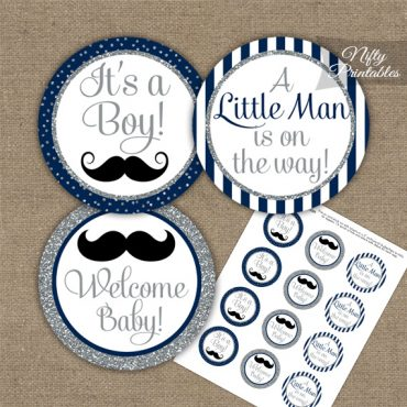 Baby Shower Toppers - Mustache Navy Silver