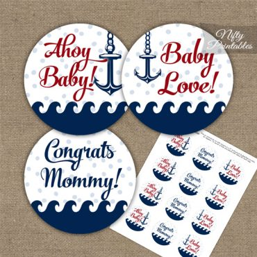 Baby Shower Toppers - Red Nautical