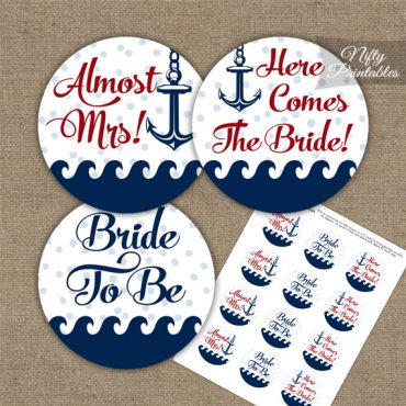 Bridal Shower Toppers - Red Nautical