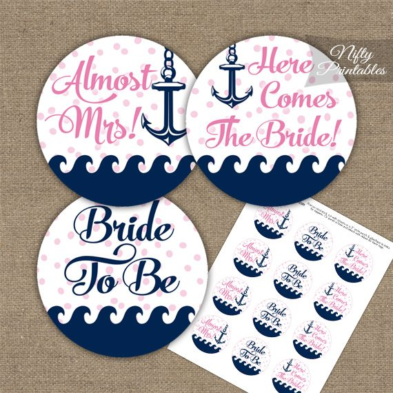 Bridal Shower Toppers - Pink Nautical