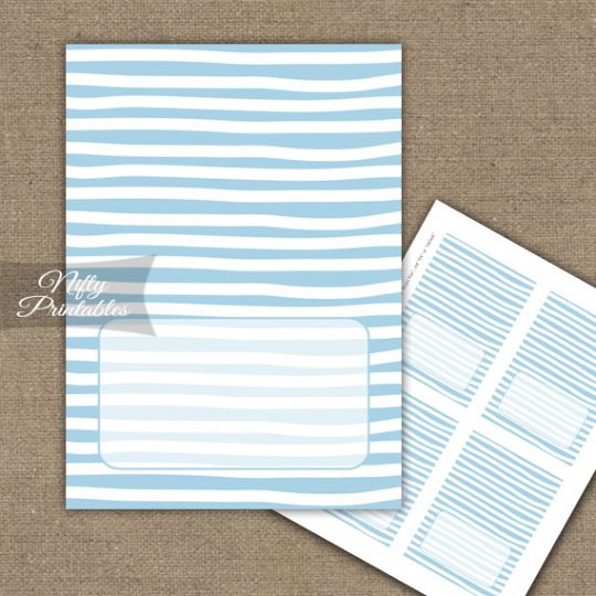 Buffet Tent Cards - Place Cards - Blue White Stripe