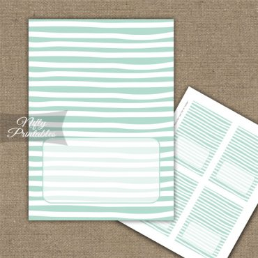 Buffet Tent Cards - Place Cards - Mint White Stripe