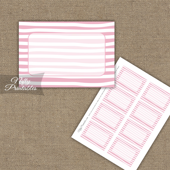 Labels - Pink White Stripe