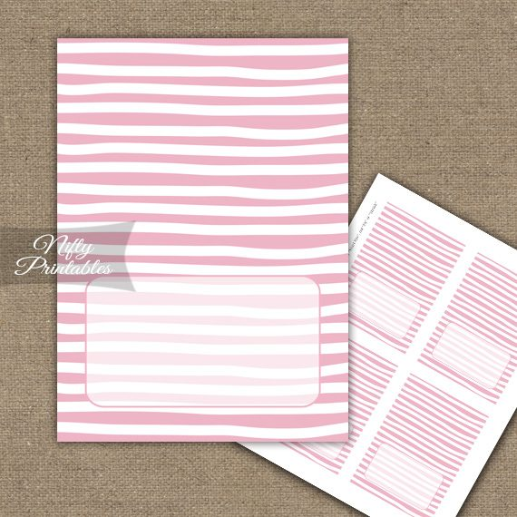 Buffet Tent Cards - Place Cards - Pink White Stripe