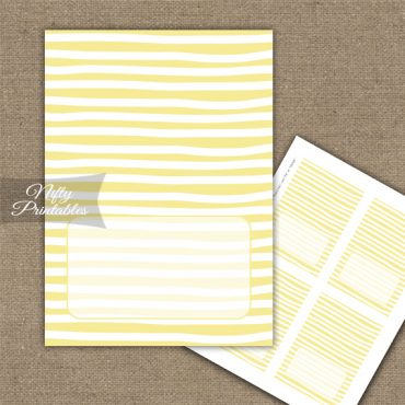 Buffet Tent Cards - Place Cards - Yellow White Stripe