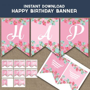 Happy Birthday Banner - Pink Mint Floral
