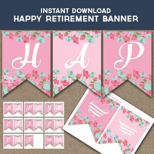 Happy Retirement Banner - Pink Mint Floral