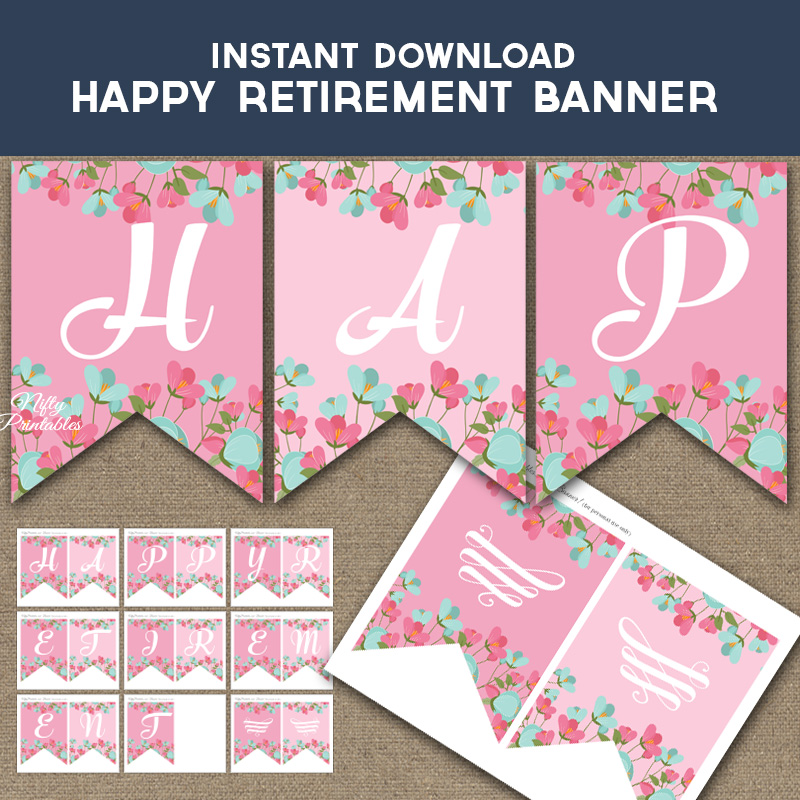Happy Retirement Banner Pink Mint Floral Nifty Printables