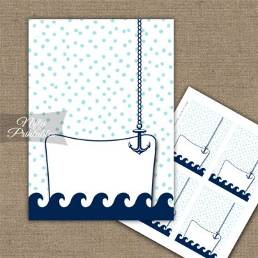 Buffet Tent Cards - Place Cards - Aqua Nautical
