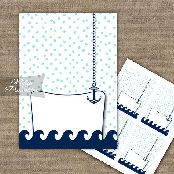 Buffet Tent Cards - Place Cards - Aqua Nautical