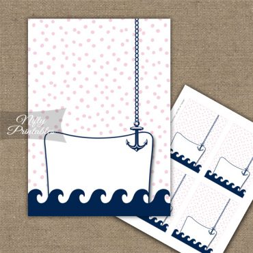 Buffet Tent Cards - Place Cards - Pink Nautical