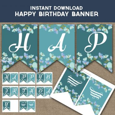 Happy Birthday Banner - Turquoise Blue Floral