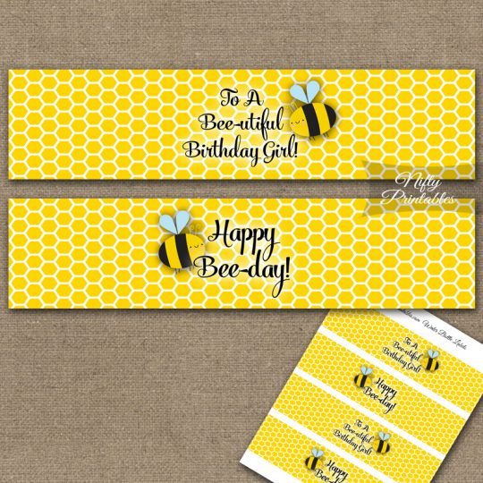 Water Bottle Labels - Bumble Bee Birthday