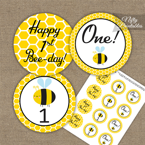 1st Birthday Cupcake Toppers - Bumble Bee Birthday