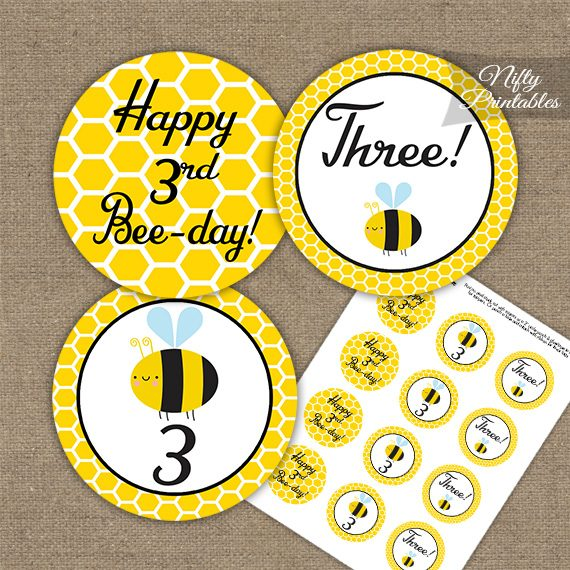 3rd Birthday Cupcake Toppers - Bumble Bee Birthday