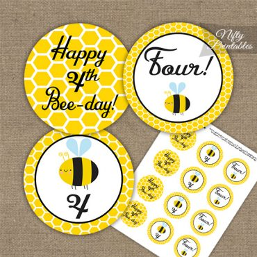 4th Birthday Cupcake Toppers - Bumble Bee Birthday