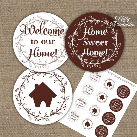 Housewarming Toppers - Brown & White Wreath