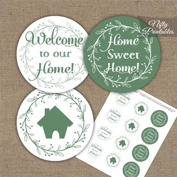 Housewarming Toppers - Sage Green & White Wreath