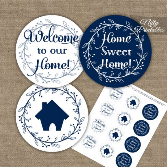 Housewarming Toppers - Navy & White Wreath