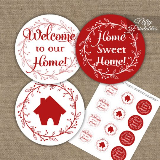 Housewarming Toppers - Red & White Wreath