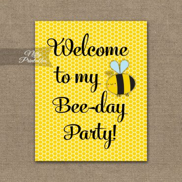 Birthday Welcome Sign - Bumble Bee Birthday