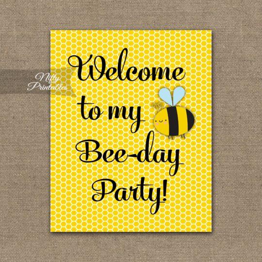 Birthday Welcome Sign - Bumble Bee Birthday