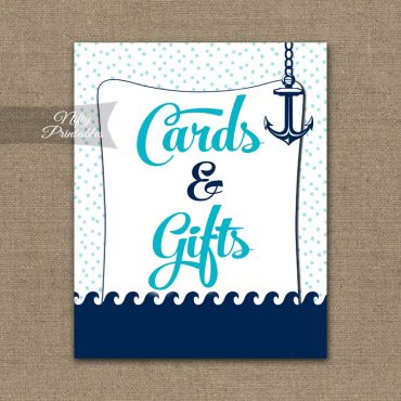 Cards & Gifts Sign - Aqua Nautical