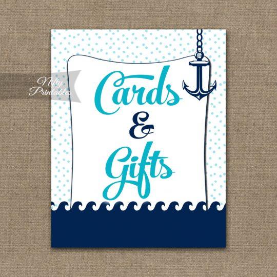 Cards & Gifts Sign - Aqua Nautical