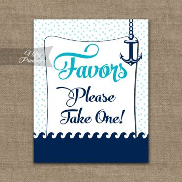 Favors Sign - Aqua Nautical