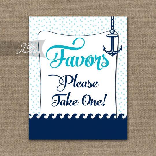 Favors Sign - Aqua Nautical