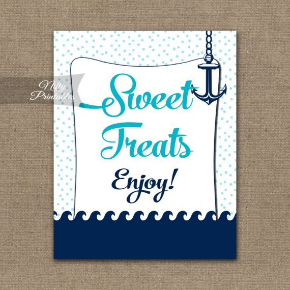 Sweet Treats Dessert Sign - Aqua Nautical