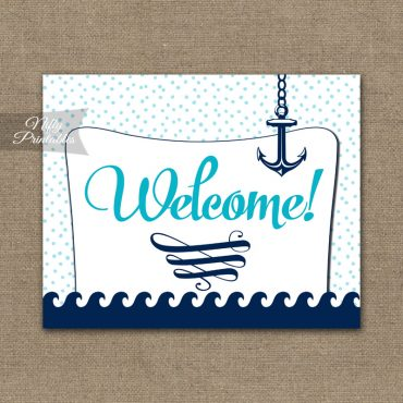Welcome Sign - Aqua Nautical