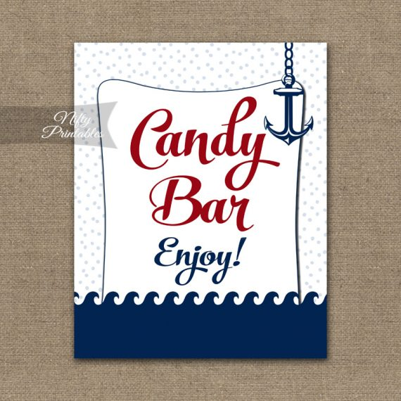 Candy Buffet Sign - Red Nautical