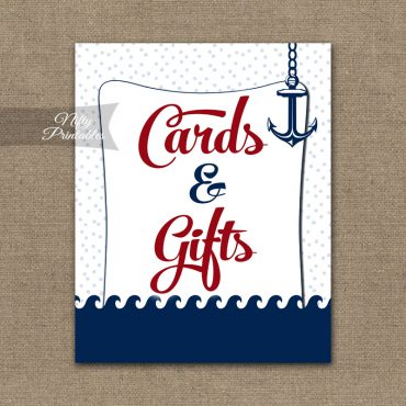 Cards & Gifts Sign - Red Nautical