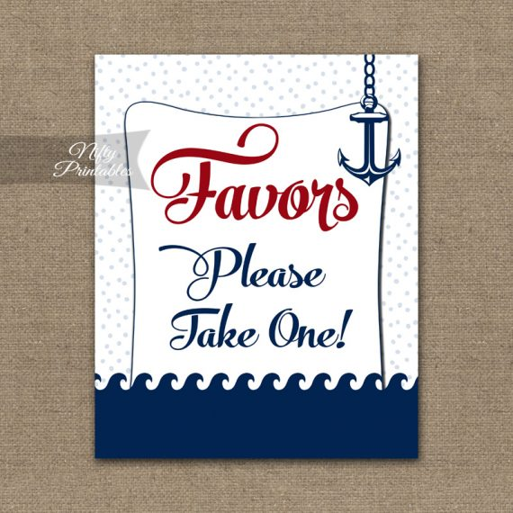 Favors Sign - Red Nautical