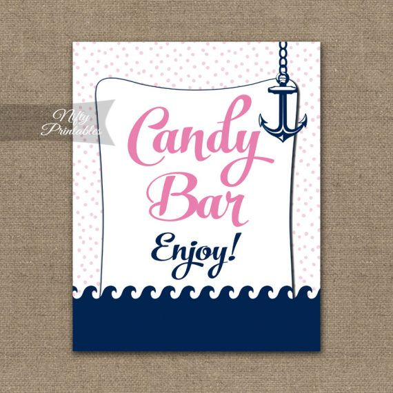 Candy Buffet Sign - Pink Nautical
