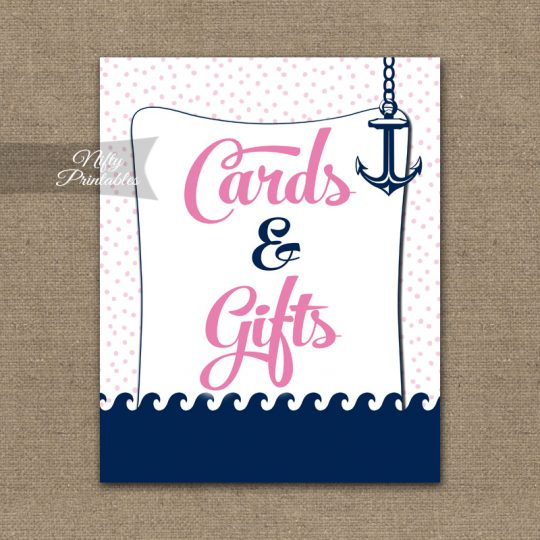 Cards & Gifts Sign - Pink Nautical