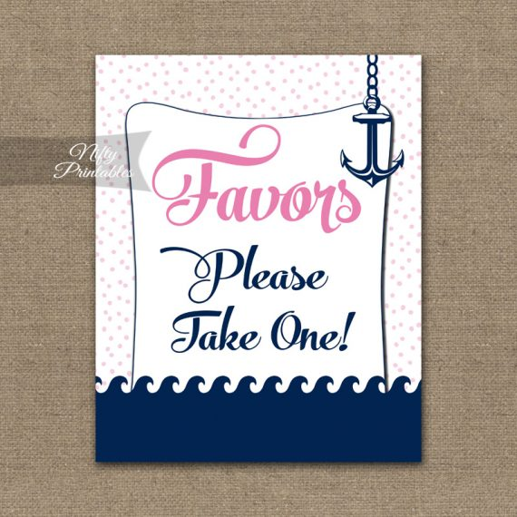 Favors Sign - Pink Nautical