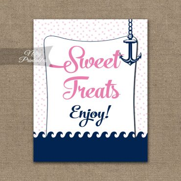 Sweet Treats Dessert Sign - Pink Nautical