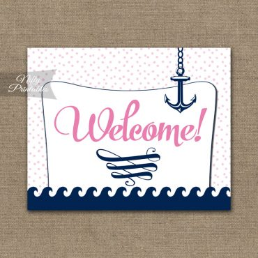 Welcome Sign - Pink Nautical