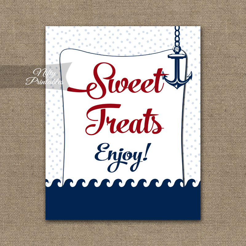 Sweet Treats Dessert Sign - Red Nautical
