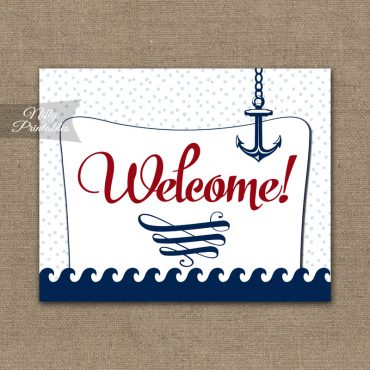 Welcome Sign - Red Nautical