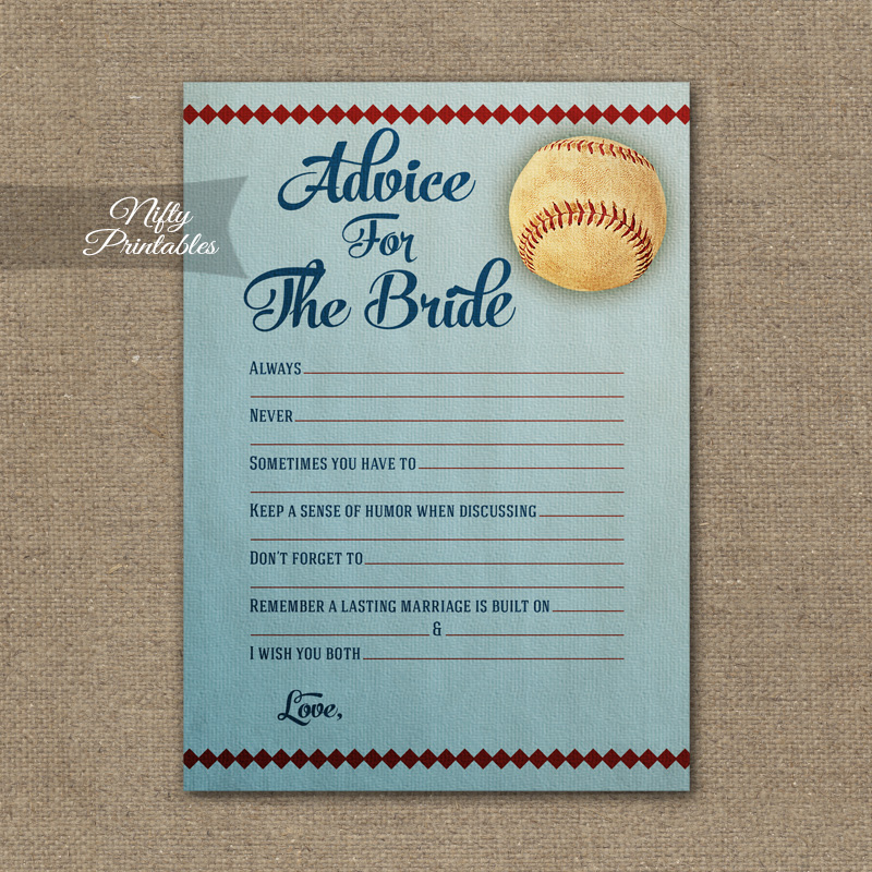 Bridal Shower Advice Cards Baseball Nifty Printables