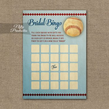 Bridal Shower Bingo Game - Baseball